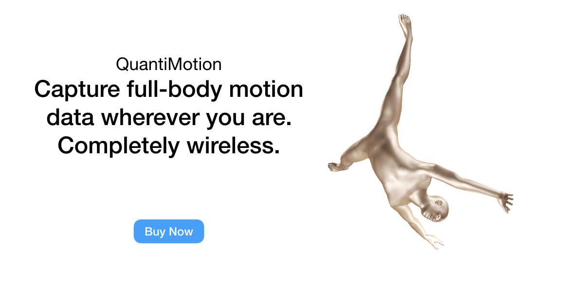 Capture full-body motion data wherever you are. Completely wireless.